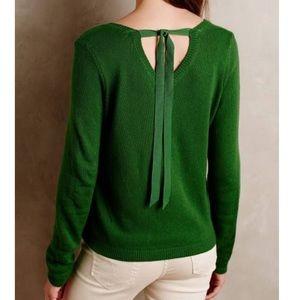 Anthropologie MOTH Green Ribbon Tie Sweater